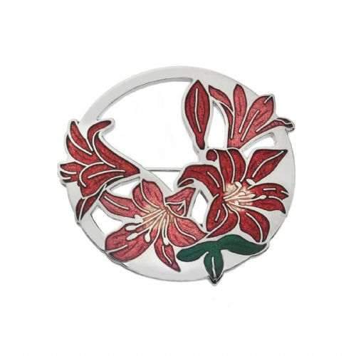 Large Red Lilies Brooch Silver Plated Brand New Gift Packaging